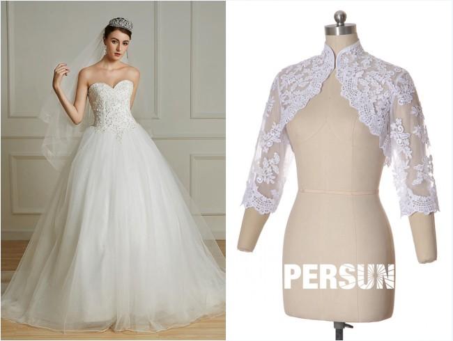 robe de mariée bustier coeur appliqué de dentelle et boléro dentelle avec manche