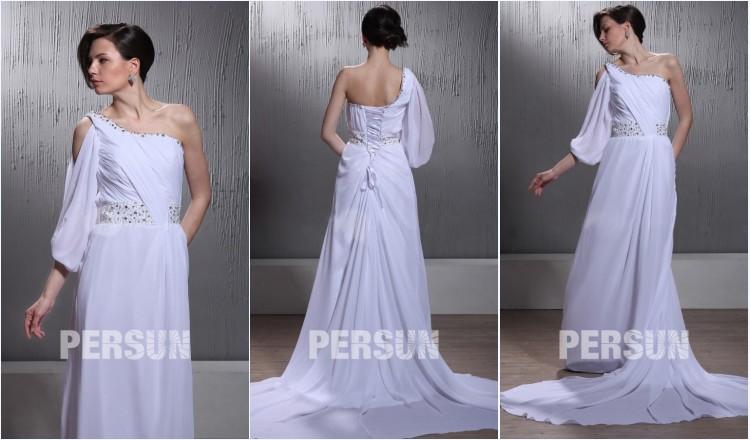 robe de mariée plage colonne asymétrique