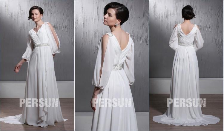 robe de mariée plage col en V plissé avec manche