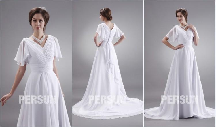 robe de mariée plage col en V plissé & perlé