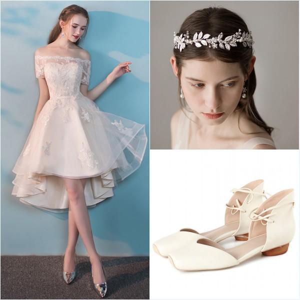 robe de mariée plage, coiffe et ballerine