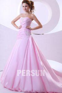 robe de mariée rose bustier coeur ruché
