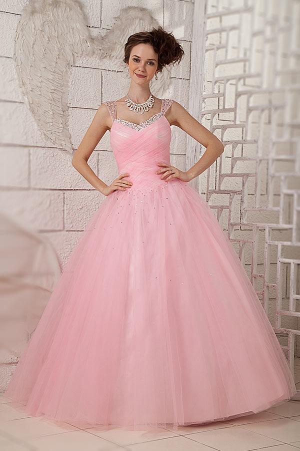 robe de mariée rose princesse en tulle