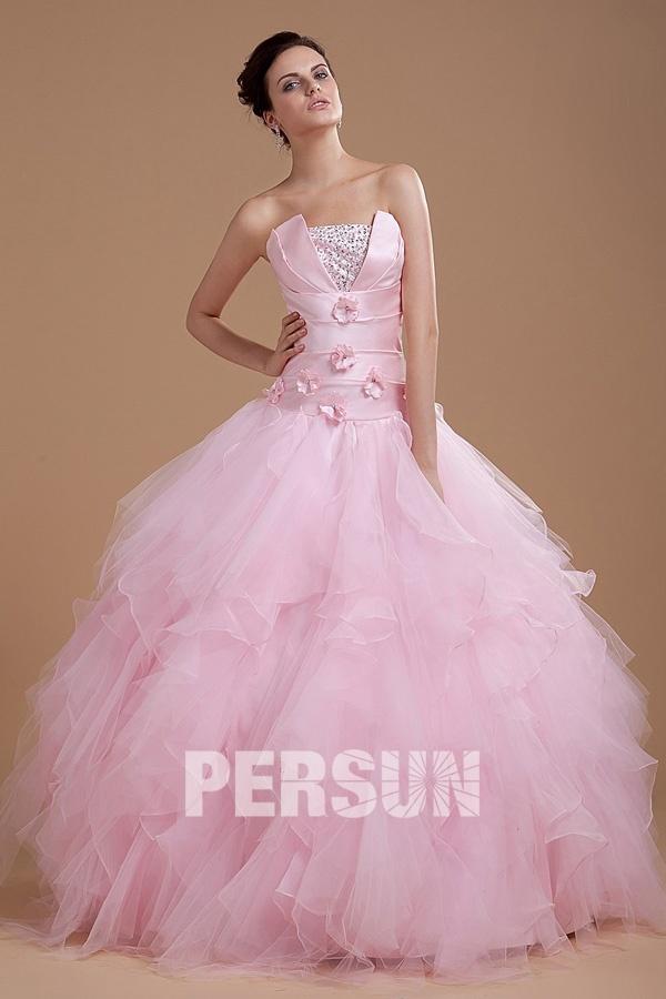 robe de mariée rose princesse jupe à volants