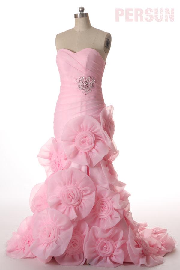 robe de mariée rose sirène jupe fleuri