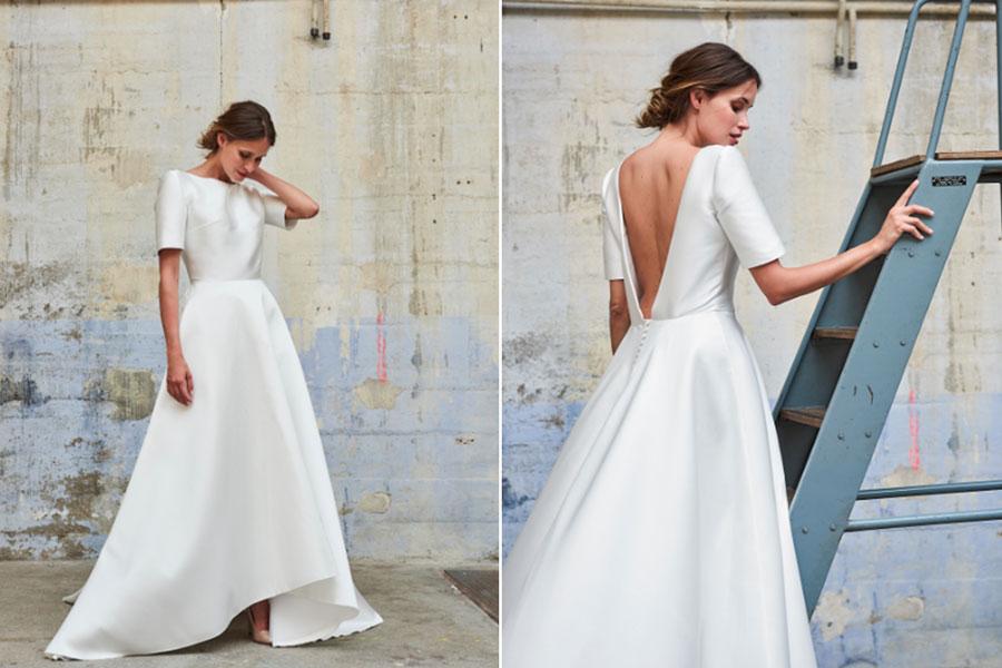 robe de mariée simple avec manche courte dos nu