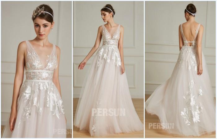 robe de mariée rose pale 2019 appliqué de dentelle
