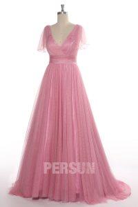 robe de mariée rose style bohème col en V