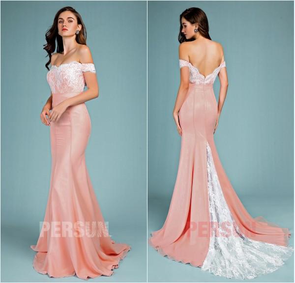 robe de réception sirène vieux rose épaule dénudé