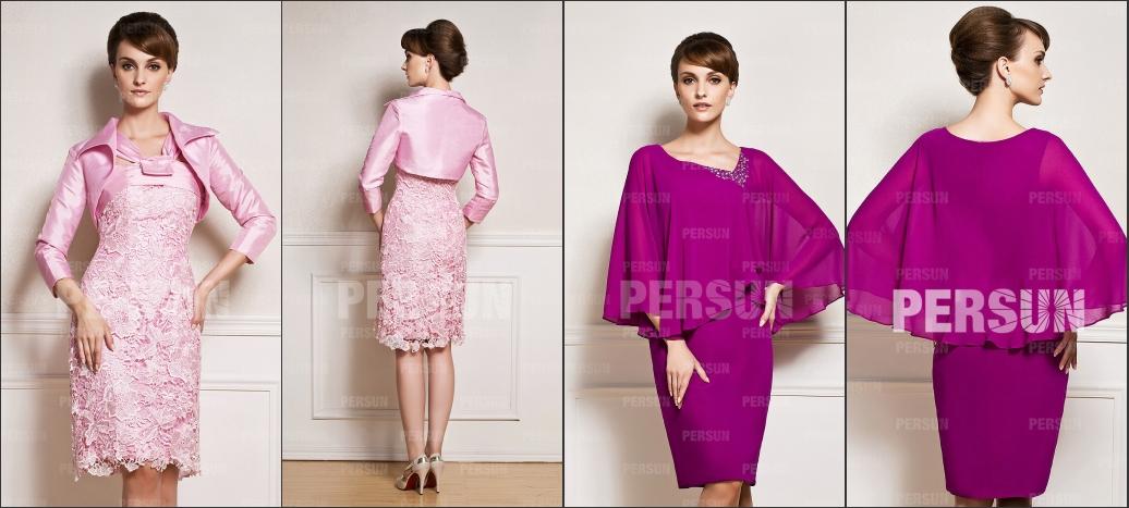 robe mère rose col halter couvert de dentelle guipure avec une veste, robe mère asymétrique moulante fuchsia ornée de bijoux avec une cape en tulle