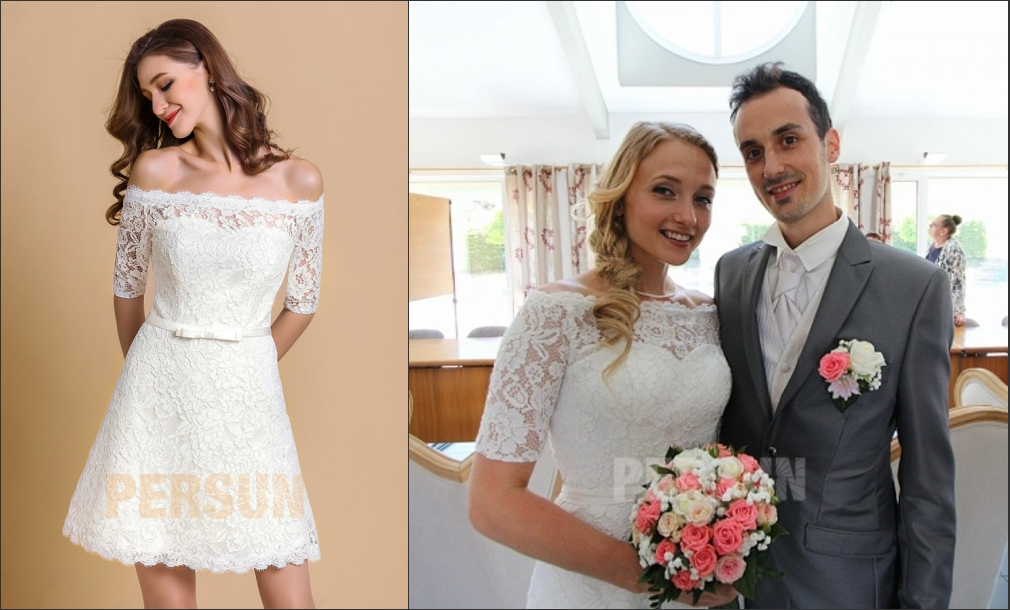robe de mariée courte col bateau en dentelle guipure ceinturé de noeud papillon