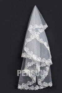 voile de mariée appliqué de dentelle guipure