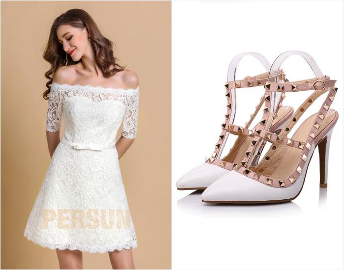 robe de mariée courte dentelle et chaussures orné de clous