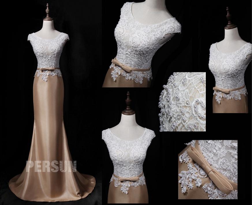 robe de soirée longue sirène classqiue haut en dentelle appliquée ornée de perlettes er ceinture