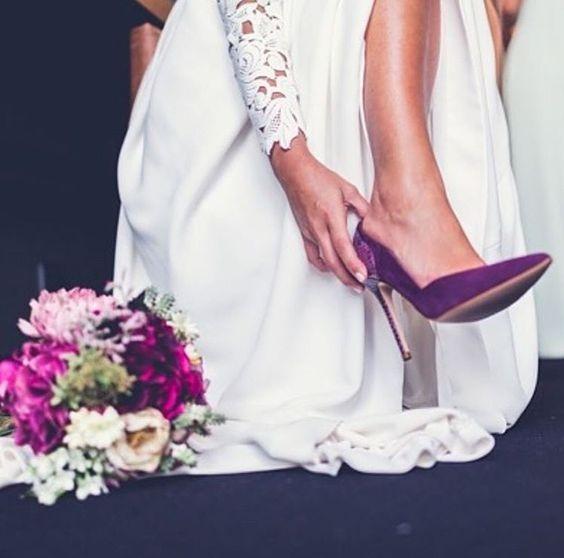 escarpin violet pour mariée