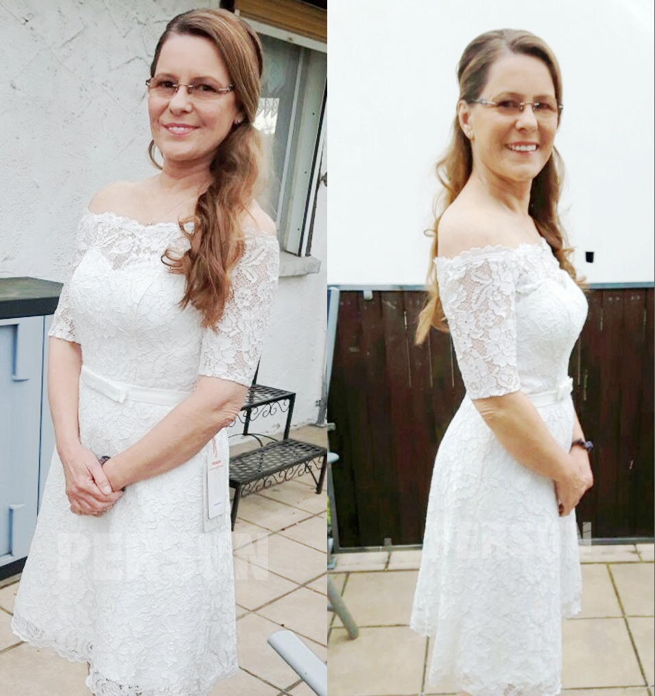 robe de mariée courte épaule dénudée couvert en dentelle guipure avec manches courte transparentes