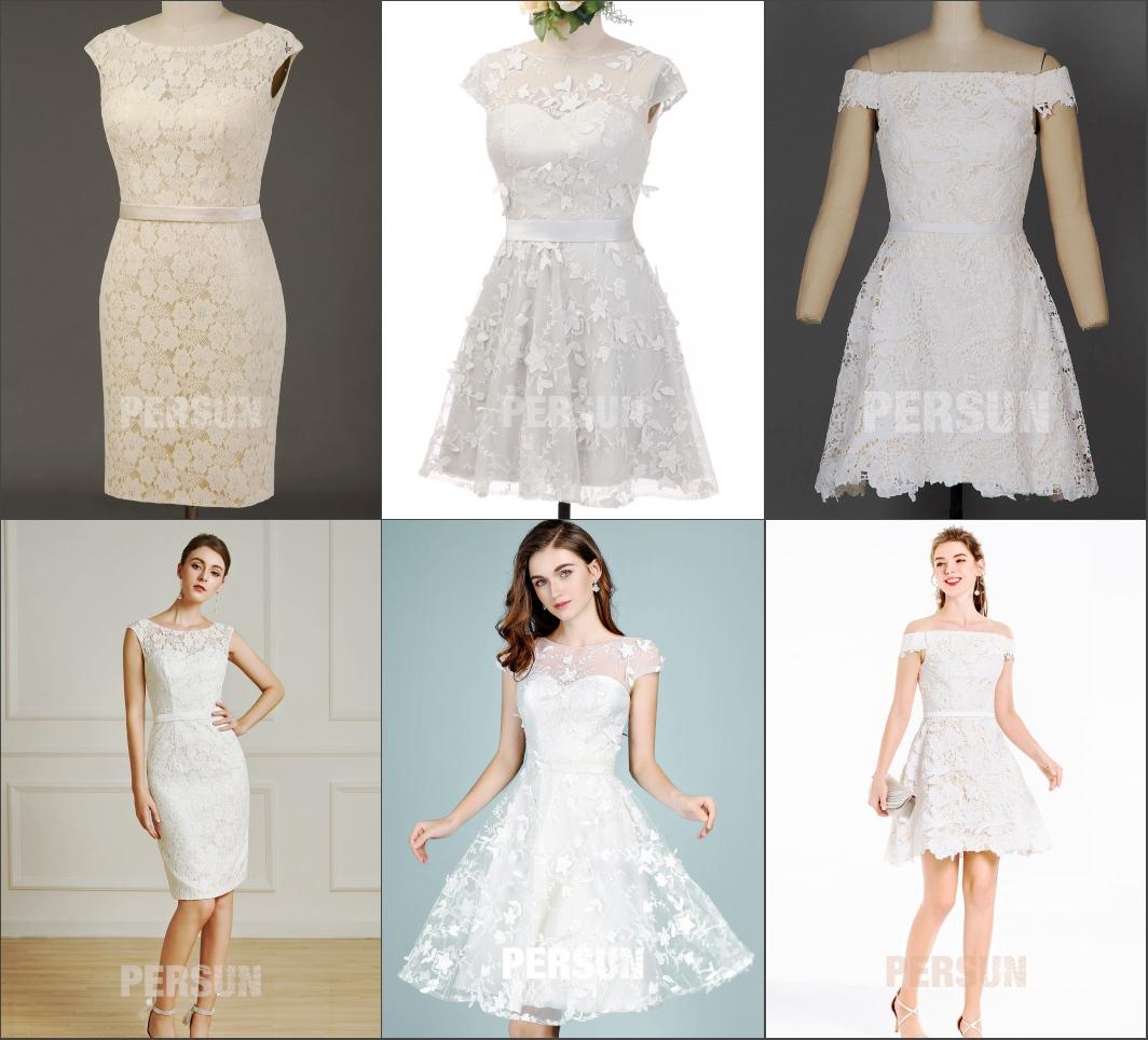 robe de mariée courte en couleur différente chic de persun
