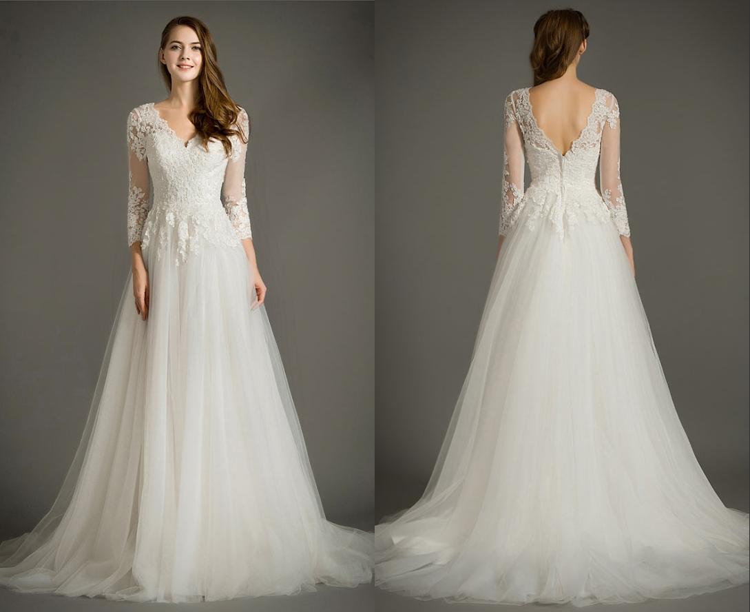 robe de mariée vintage ligne A col et dos decolleté en v en dentelle appllquée avec manches transparentes