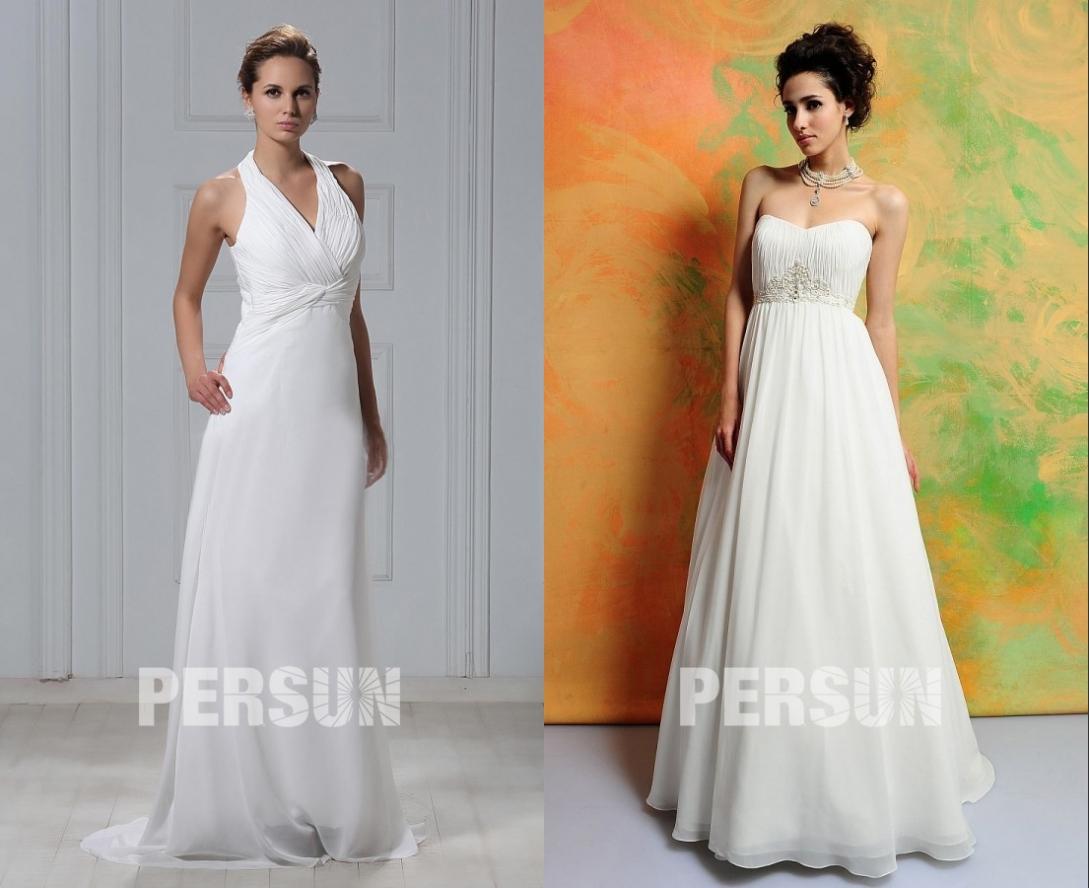 robe de mariée longue en ligne simple bustier plissé