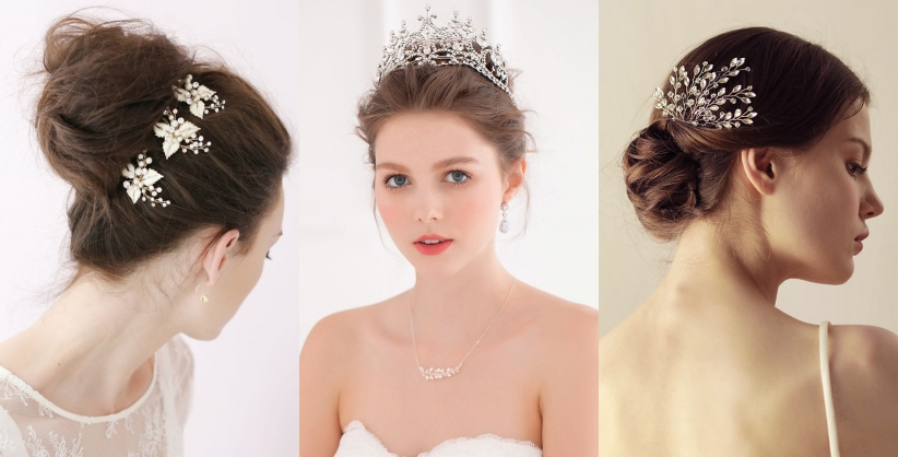 coiffe brillant de mariage embelli de bijoux classique pas cher