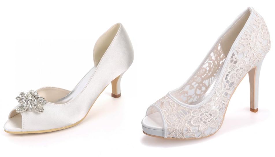 chaussures de mariage blanches talon haut à bout ouvert