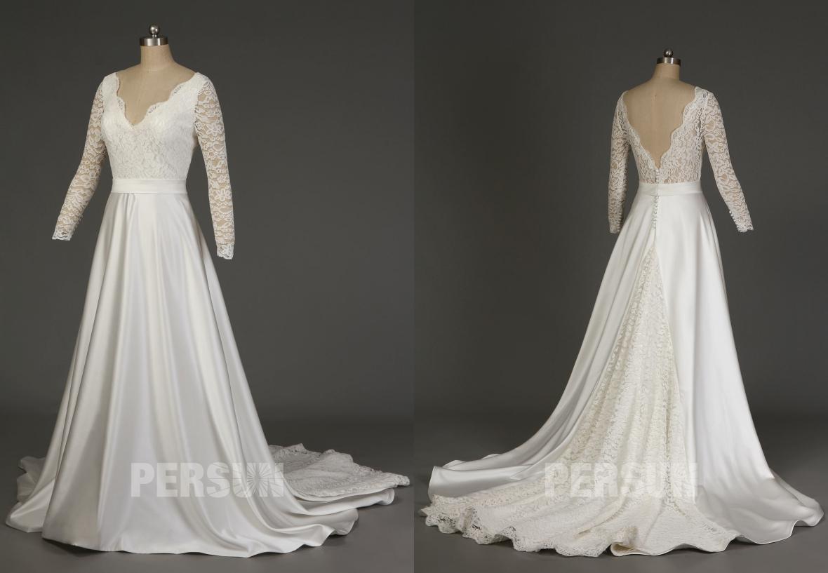 robe de mariée 2019 vintage col v en dentelle col et dos v avec traîne chapelle à manche longue