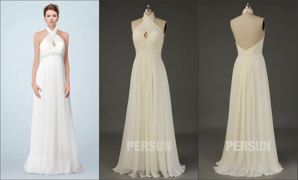 robe de mariée simple empire dos nu col halter bustier plissé taille embelli de sequins