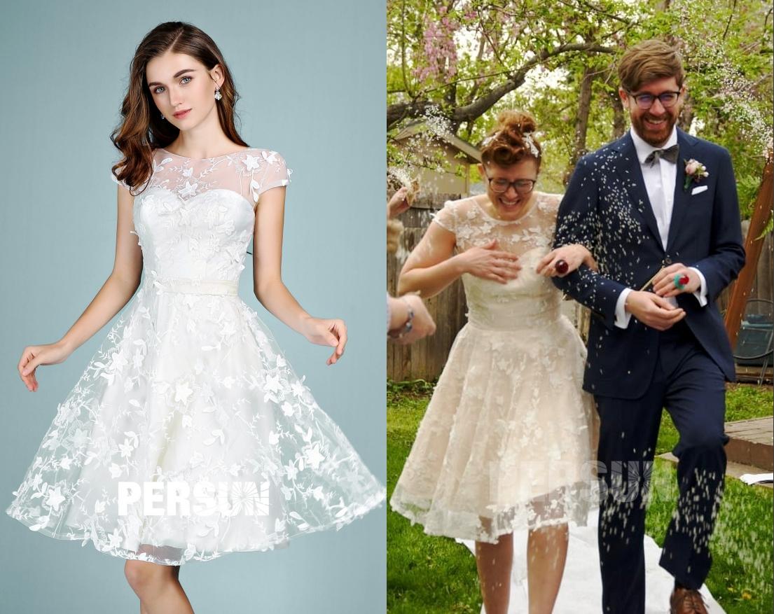 élégante robe de mariée courte col illusion manche courte ornée de fleurs vives
