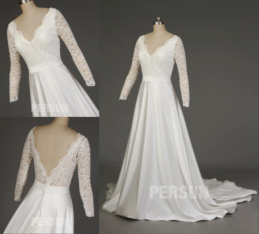 robe de mariée vintage décolleté v haut en dentelle appliquée avec manches longues à traîne cathédrale