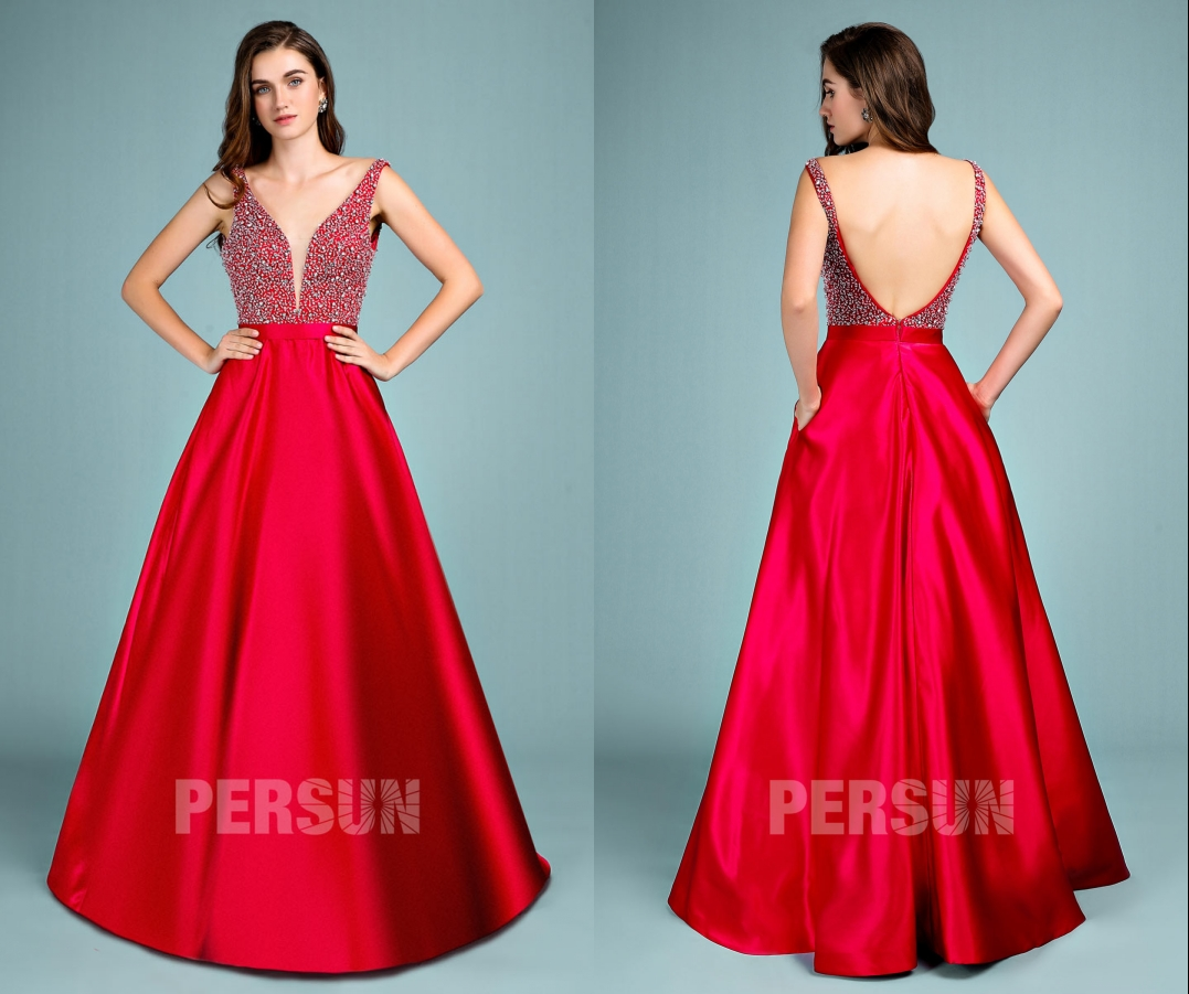 sexy robe de soirée rouge princesse col v plongeant dos nu embelli de strass jupe en satin