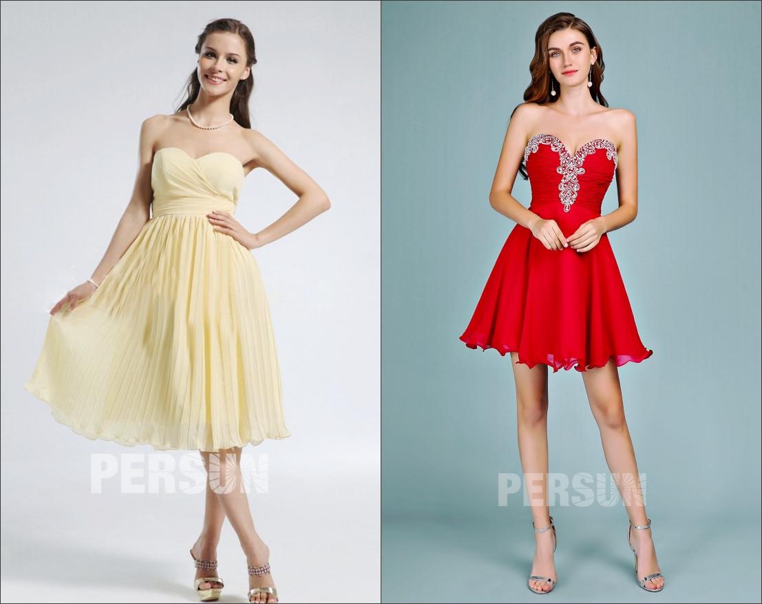 2 robe de soirée courte bustier coeur de persun 2019