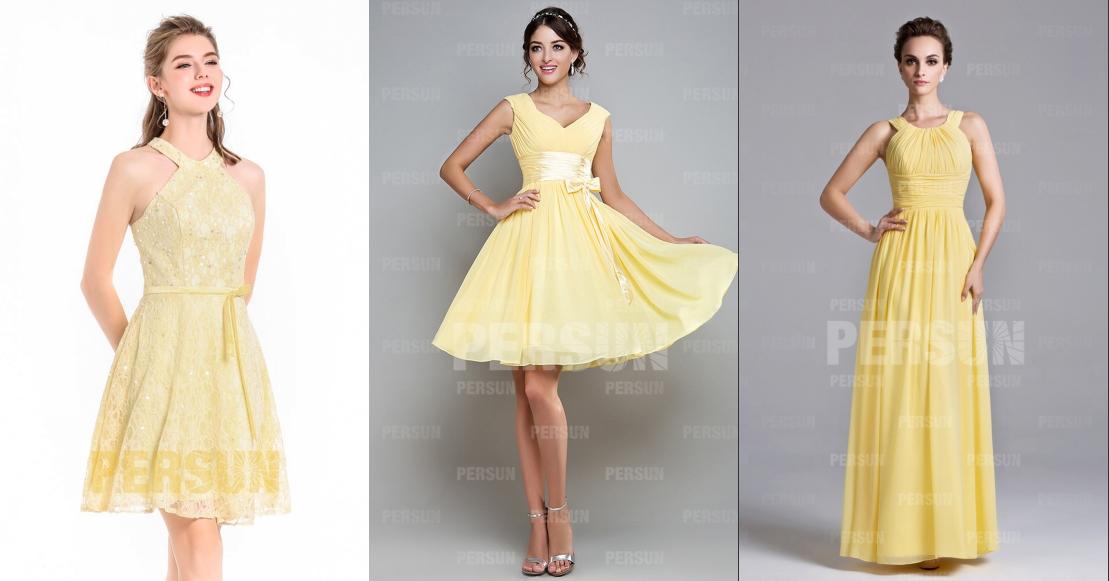 jaune robe de cocktail