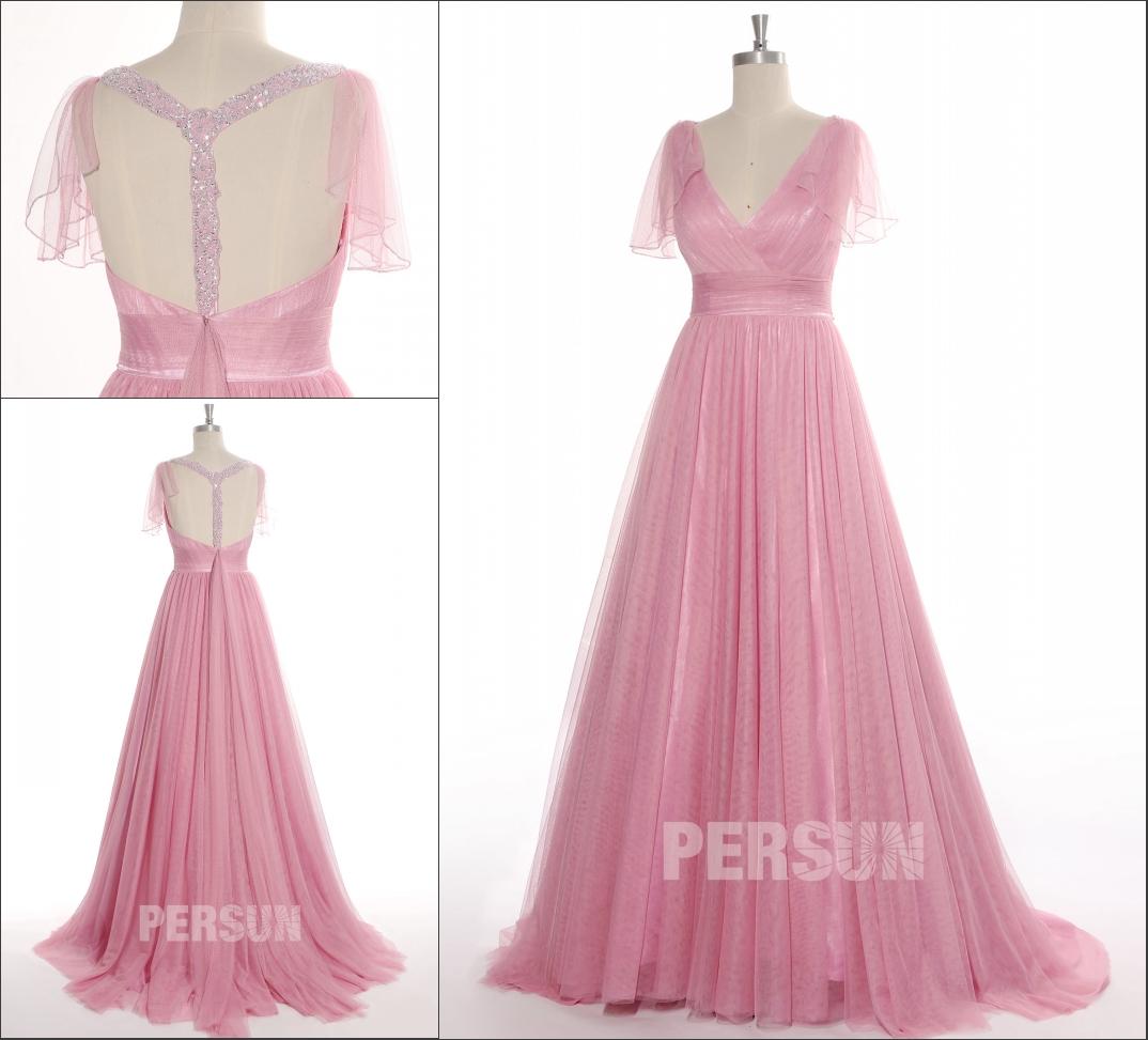 robe de mariée rose bustier plissé col v plongeant bretelle travaillée coupée en forme Y