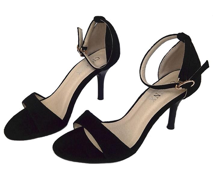 simple sandales à talons noire suédé pour soirée mariage