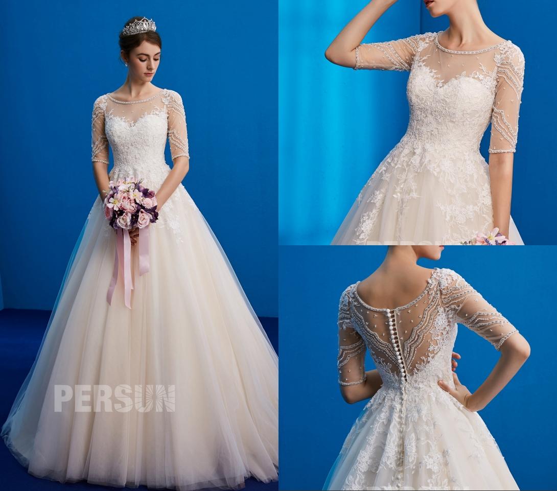 robe de mariée princesse classique col illusion dos transparente embelli de strass et de sequins à manche courte