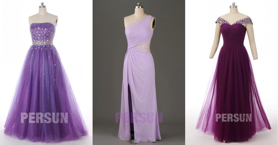 robe de cérémonie longue violette magnifique automne