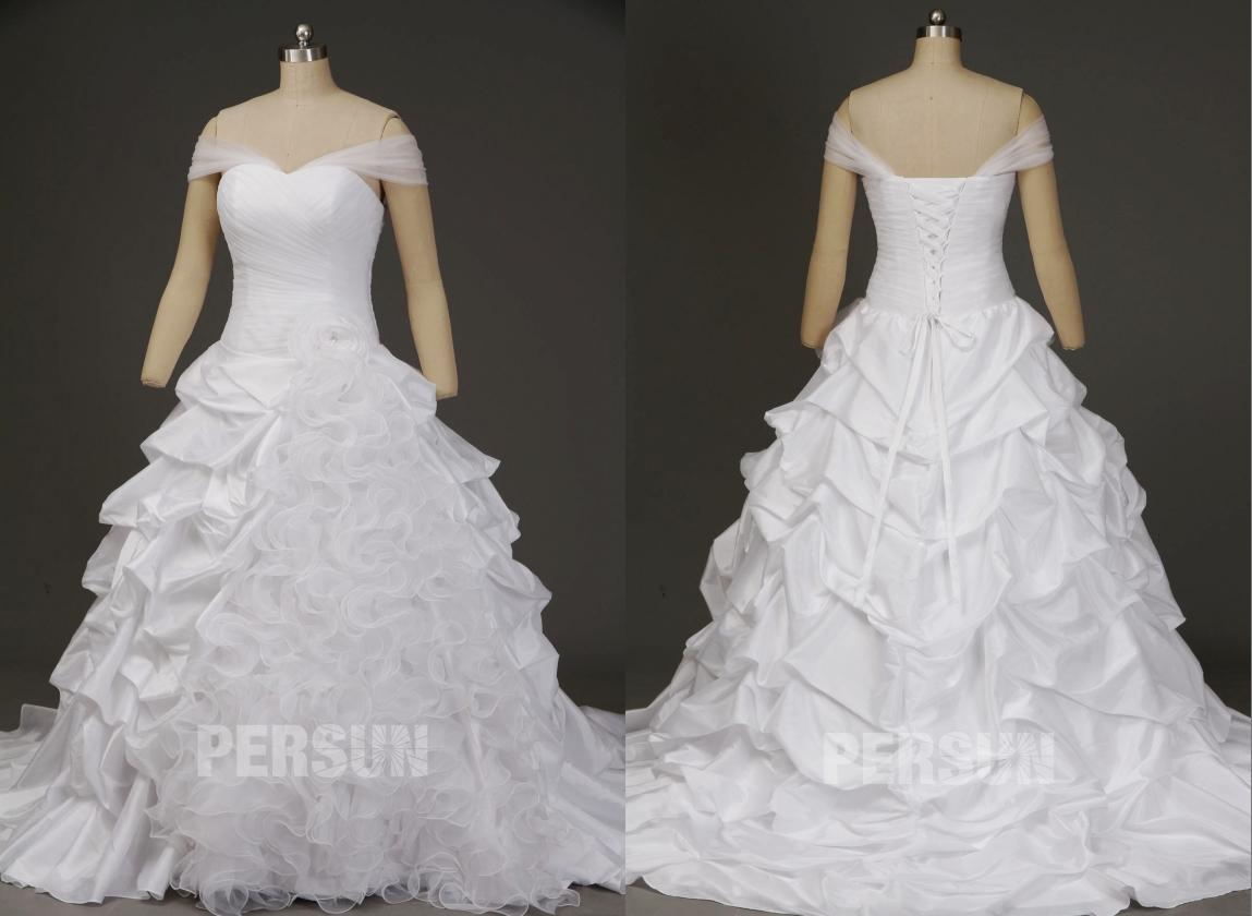 robe de mariée princesse col bardot