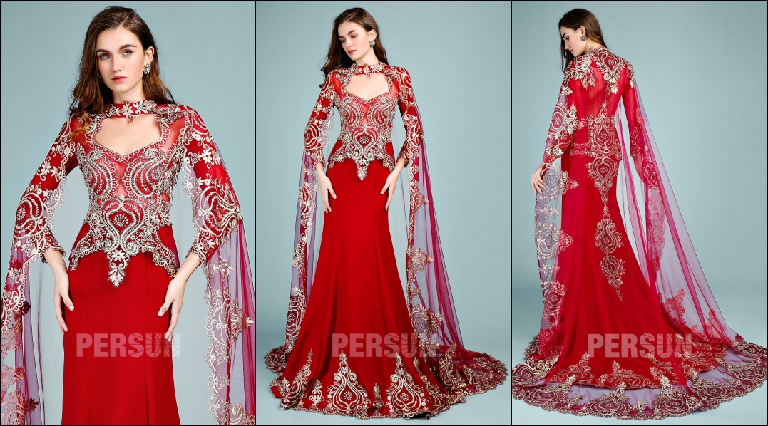 robe de mariée rouge style indien appliquée de dentelle guipure dorée manches longue avec cape fantaisie
