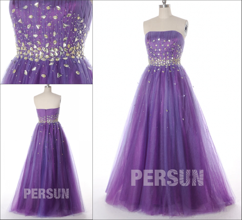 robe de soirée princesse violette bustier ornée de cristaux