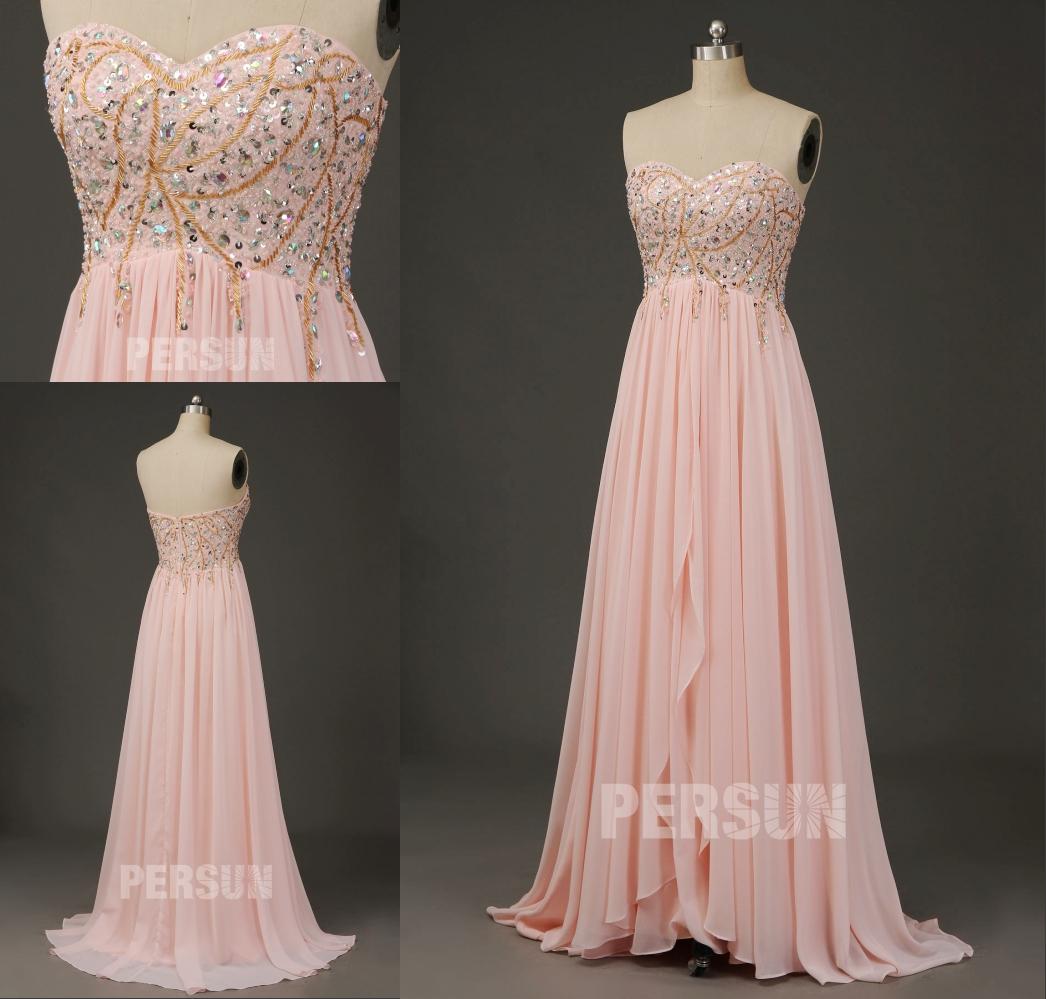 robe de cérémonie rose bustier coeur ornée de strass et sequins exquis