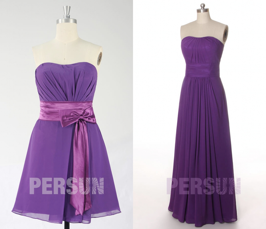 élégante robe demoiselle d'honneur violette bustier plissé