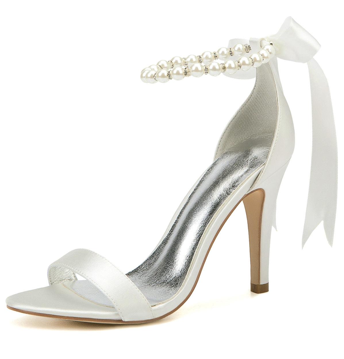 sandale de mariage à bride embelli de perles et noeud papillon
