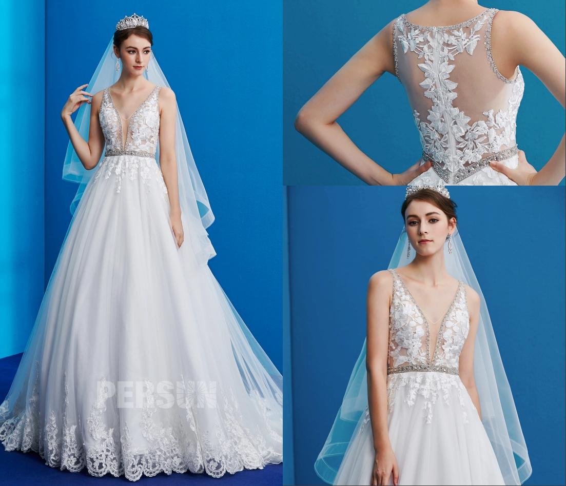 robe de mariée sexy col v plongeant haut en dentelle florale et dos nu transparent embelli de perle