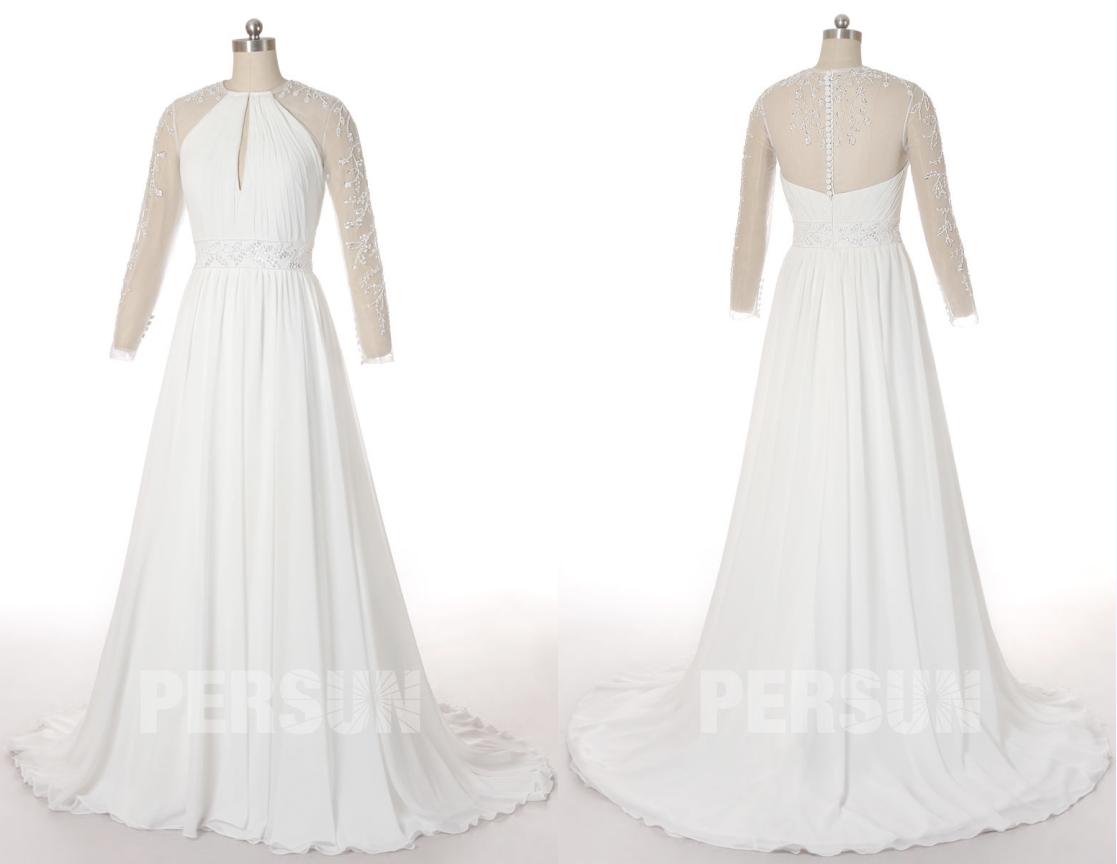 robe de mariée découpe goutte d'eau dos transparent ornée de perle avec manche longue