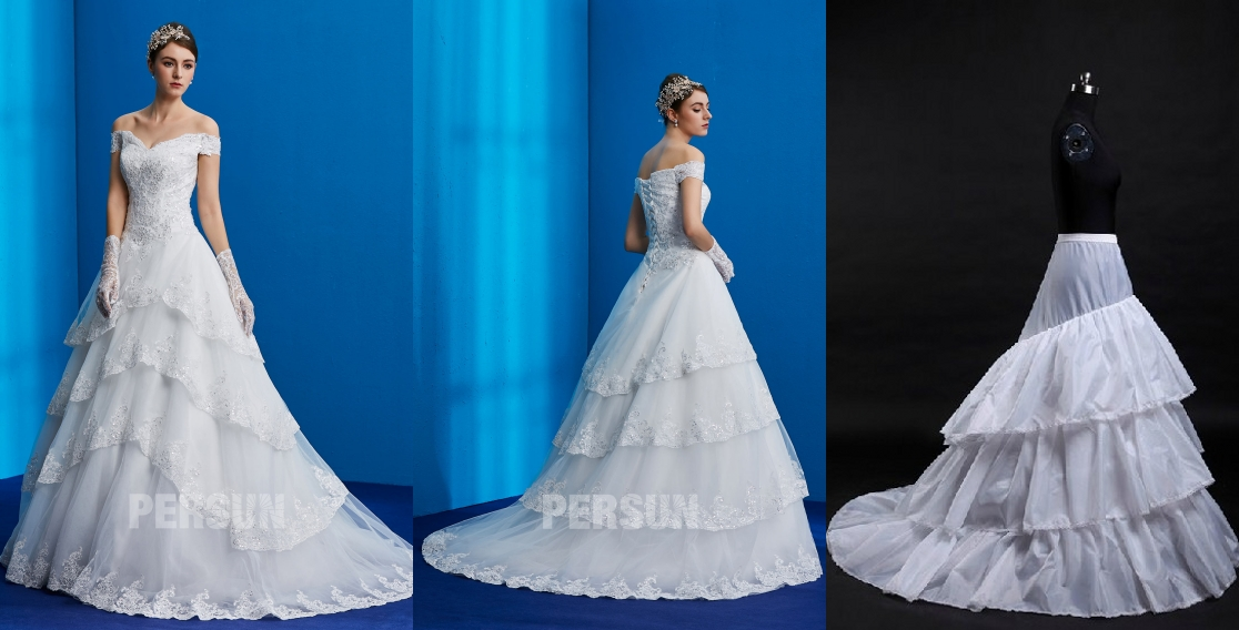 robe de mariée princesse en dentelle appliquée en sequins avec jupon traîne