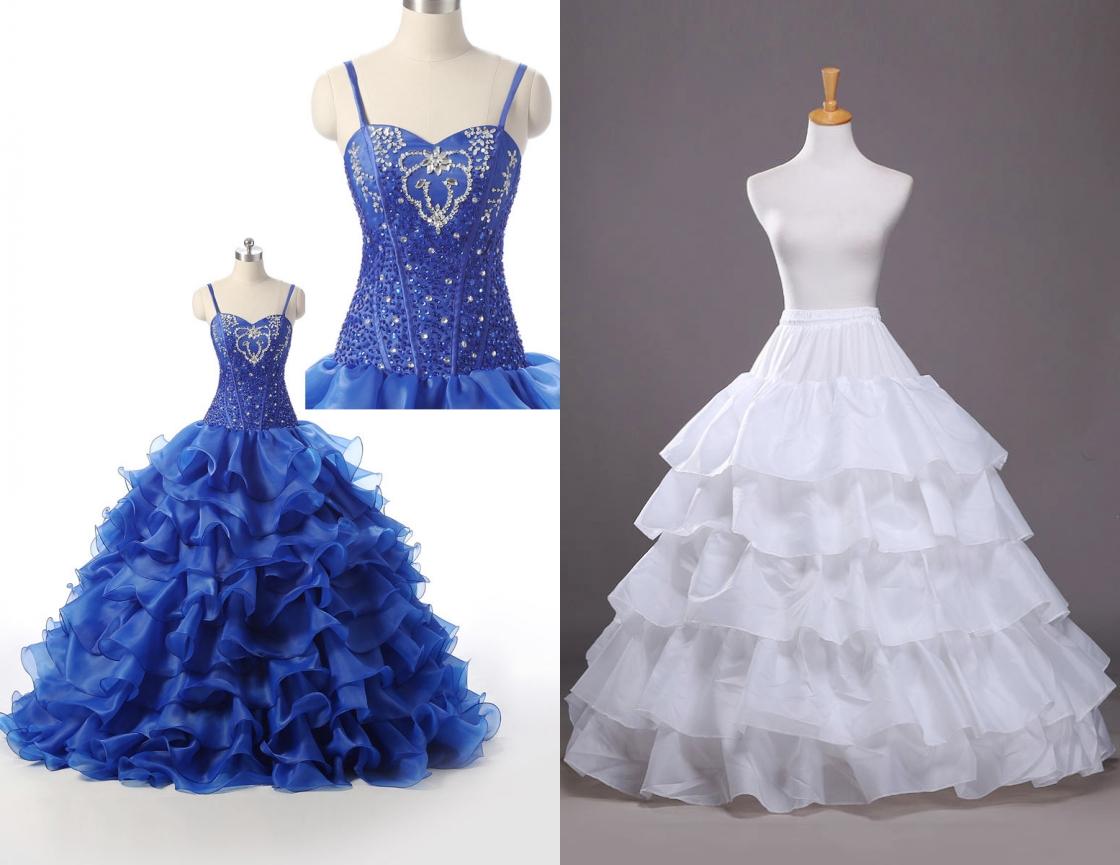 robe de mariée bleu royal princesse jupe à volant embelli de strass avec jupon princesse