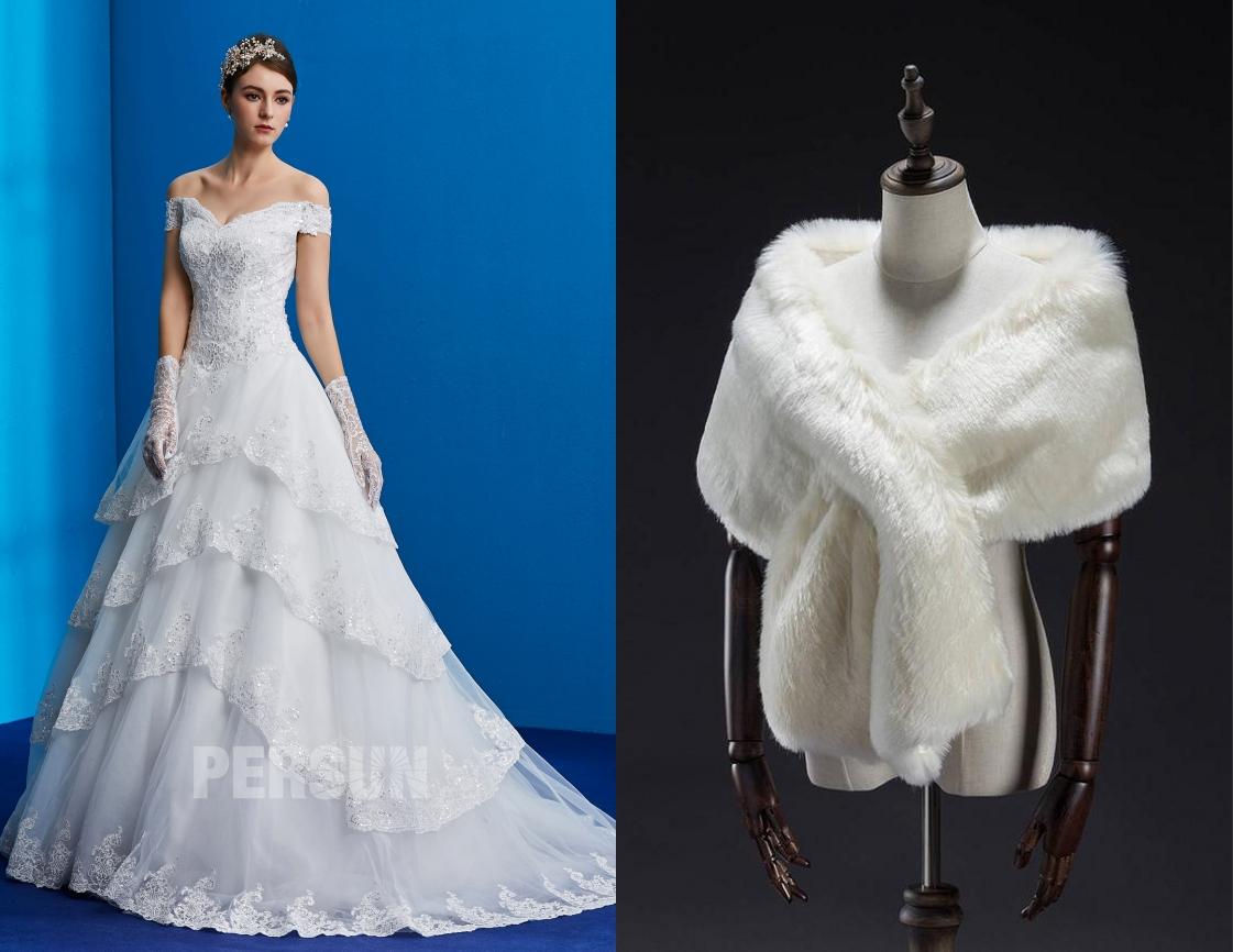 robe de mariée princesse épaule dénudé en dentelle de sequins