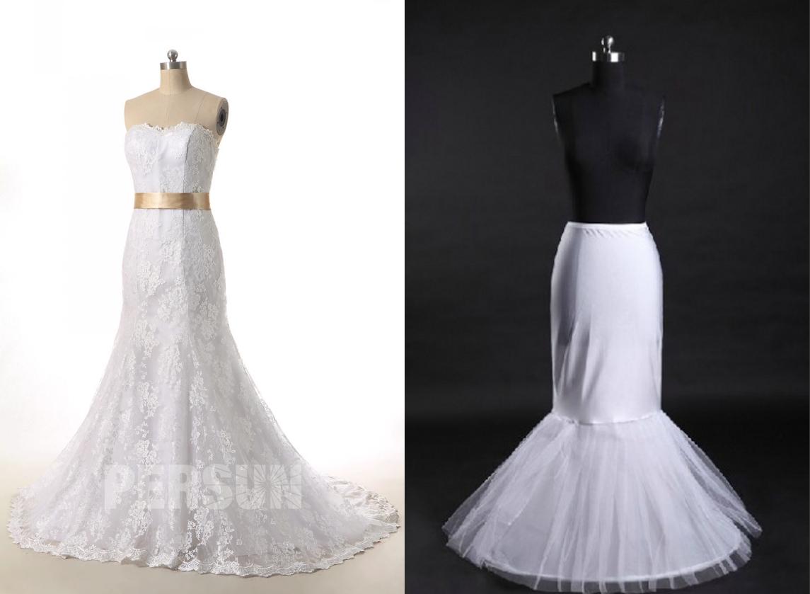 jupon longue sirène pour robe de marié sirène en dentelle