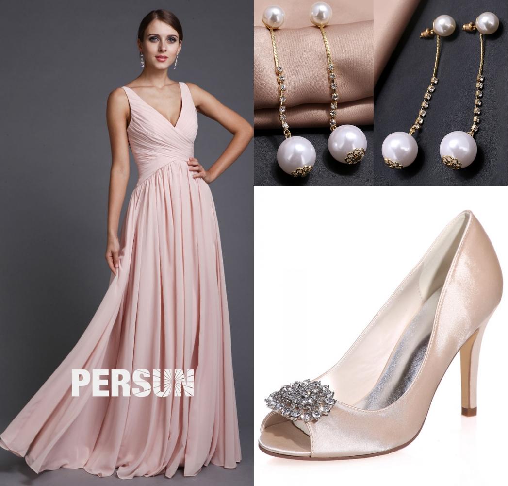 robe de cérémonie longue rose col V bustier plissé avec accessoire chic