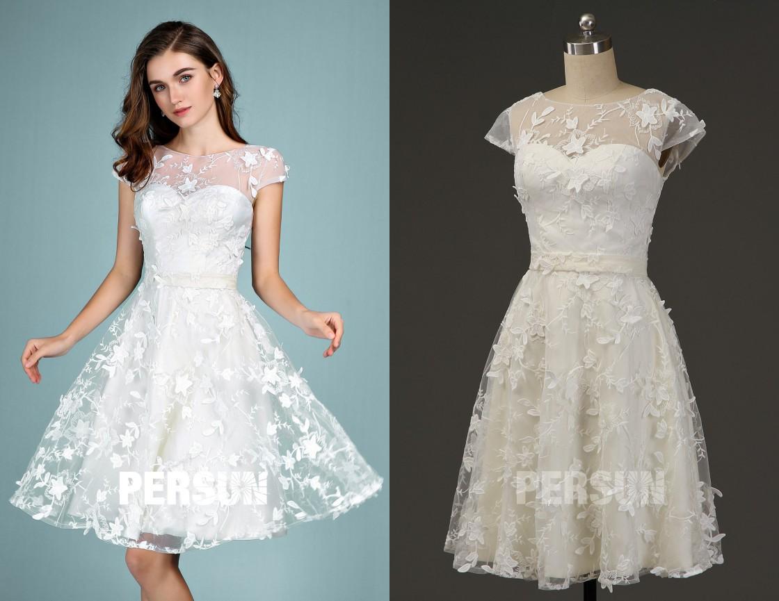 robe de mariée courte élégante col illusion avec manche courte appliquée de dentelle fleurs